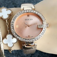 GUCCI Popular Chic Movement Watch Business Watches Rivet Diamond Wrist Watch Rose Golden I-H-JH
