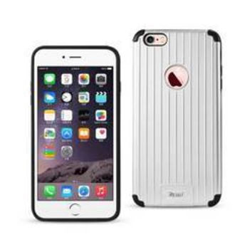 REIKO IPHONE 6 PLUS/ 6S PLUS RUGGED METAL TEXTURE HYBRID CASE WITH RIDGED BACK IN BLACK SILVER