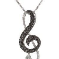 Sterling Silver Black Diamond Music Note Fashion Pendant Necklace (.11 cttw), 18""