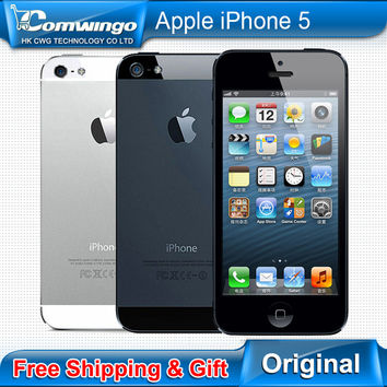 Unlocked Original iphone 5 used phone 8MP Camera 16/32GB ROM Wifi GPS WCDMA 3G Used apple iphone5 Free Shipping