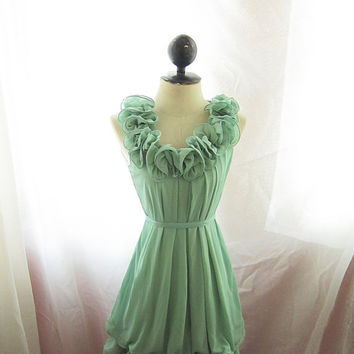 Vineyard Green Seafoam Mint Rosette Marie by RiverOfRomansk