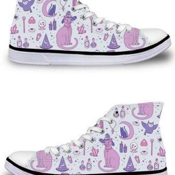 Witch Kitty High Top Sneakers - 3 Colors
