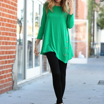 Kelly Green 3/4 Sleeve Long Top w/ Button Detail *MADE IN USA*