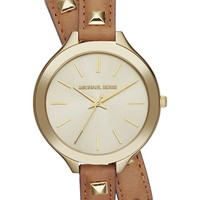 Michael Kors Watch, Women's Runway Gold-Tone Stud and Luggage Leather Wrap Strap 42mm MK2309 - Michael Kors - Jewelry & Watches - Macy's