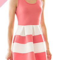 Colorblock Sleeveless Coral and White Skater Dress