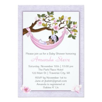 "Hammock Baby Shower Invitation - African American 5"" X 7"" Invitation Card"