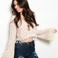 Lamise Floral Top- Ivory