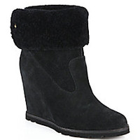 UGG Australia - Kyra Suede & Shearling Wedge Booties - Saks Fifth Avenue Mobile