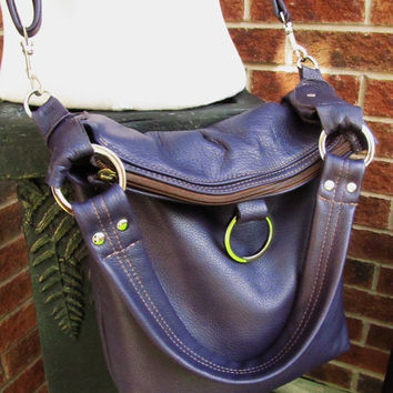 Simple Purple Leather Purse, Fold Over Leather Bag, Handmade Leather bag, 3 way bag