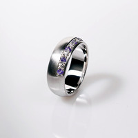 Amethyst and diamond wedding band, white gold, wide wedding ring, men amethyst ring, unique, purple ring, men wide wedding band, commitment