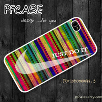 Best Seller !!!! Nike JUST DO IT with aztec style : Handmade Case for Iphone 4/4s , Iphone 5 Case Iphone