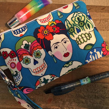 Zipper Pouch Wristlet Purse  with Detachable Strap -Dia de los Muertros-Frida-Day of the Dead-Sugar Skulls