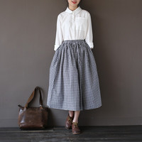 Elastic waist Cotton Black White Plaid Women Skirt Vintage Mori girl style Casual Summer Skirt Kawaii Cute Plaid Long Skirt A071