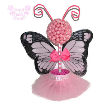 Pink Butterfly Fairy Princess Lollipop Topiary