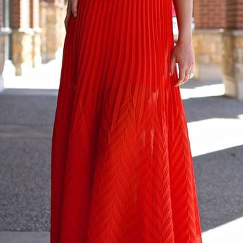 Scarlet Silk Chiffon Chevron Embossed Maxi Skirt