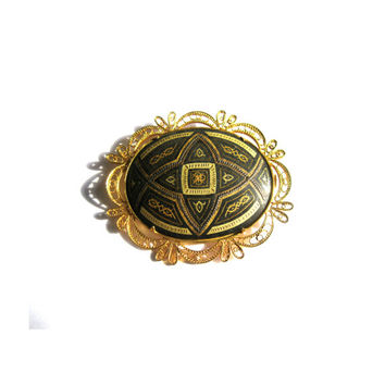 Ornate Filigree Damascene Brooch