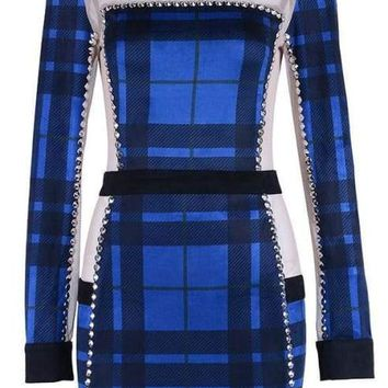 Mary Jane Blue Plaid Bodycon Dress