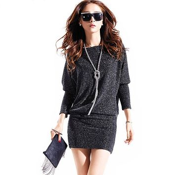 spring dress 2018 hot women dress cute casual active sexy dress wild slim Elegant long sleeve Plus size Batwing sleeve Sequins