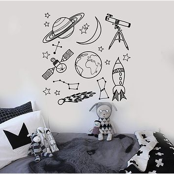 Wall Stickers Space Astronomy School Children Room Mural Vinyl Decal Unique Gift (ig1910)
