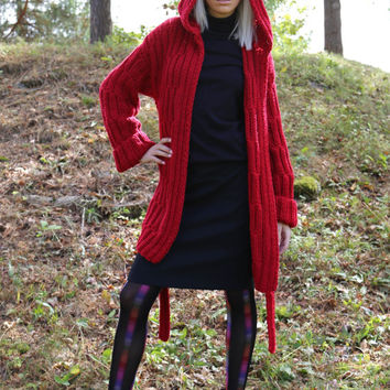 PDF pattern. Hand knitted hooded cardigan with belt. Digital pattern from Ilze Of Norway.
