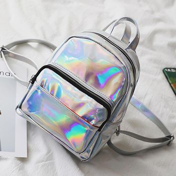 women backpack silver hologram backpack laser back pack Women's bag leather holographic daypack sac a dos mochila masculina