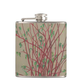 Red twigs, pastel drawing nature art tree branches hip flask