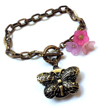 butterfly pocket wrist watch with flower beads toggle bracelet