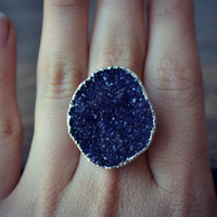 Size 7.5  /// LUX DIVINE /// Druzy Statement Ring /// Stackable Gemstone Silver Electroformed Ring