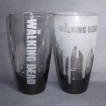 The Walking Dead Inspired Etched Drinking by ZombieGiftsandStuff