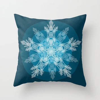 1 Blue Snowflake Throw Pillow by ArtLovePassion