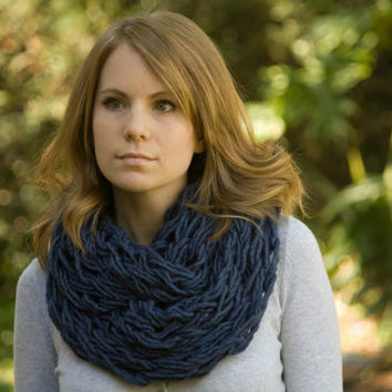 Dark Blue Infinity Scarf, Arm Knit Chunky Cowl, Spring Fashion Accessories