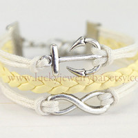 Anchor- Infinity Bracelet, Anchor bracelet, braid leather bracelet, sweet Gift, 13-08