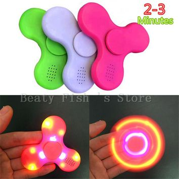 Original LED Light Bluetooth Speaker Music Spinner EDC Hand Spinner With USB Charge Cable For Autism Kids/Adult Mini Speakers