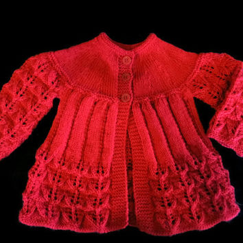 Newborn Baby Clothes Red Baby Matinee Coat, Handmade Infant Clothing Wool, Newborn Outfit Hand Knitted Baby Shower Gift, Boy Girl, Australia