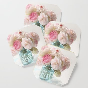 pink roses in blue jar Coaster by sylviacookphotography