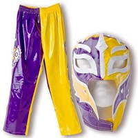 WWE REY MYSTERIO KIDS Purple/Yellow Wrestling OUTFIT