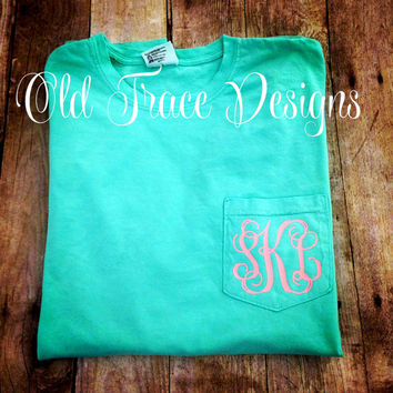 ADULT Comfort Colors Monogram Short Sleeve Pocket Tee T-shirt- Cute and Preppy