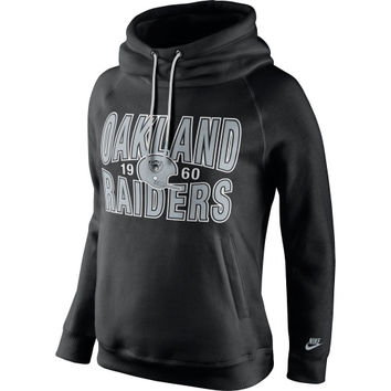 Oakland Raiders Nike Women's Rewind Rally Funnel Hoodie – Black