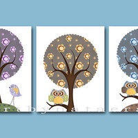 "Baby Room Decor, Nursery print,set of 3 8"" x 10"" Print,bird,tree,owl"