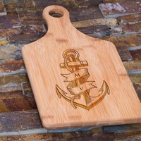 Custom Engraved Bamboo Cutting Board, Personalized Nautical Anchor Design 3