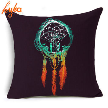Hyha Dream Catcher Cushion Cover The Rustic Magic Prints Throw Pillow Cover Decorative Cushion Cover for Sofa 45*45 CM Cojines