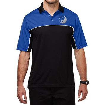 Mens Yoga Moisture Wicking Polo Yin Yang Pocket Print