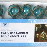 Nantucket Nautical Blue Buoy Float Patio and Garden String Light Set