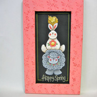 Tole Painted, Stacked Spring Animals, Happy Spring Sign, Framed in Pinks or Greens