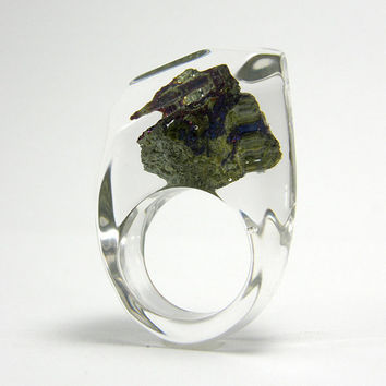 Clear resin ring with bornite by sisicata on Etsy