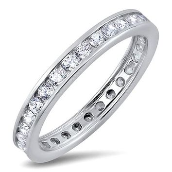 A Perfect 5TCW Solitaire Cut Russian Lab Diamond Wedding Bands Eternity Infinity Ring