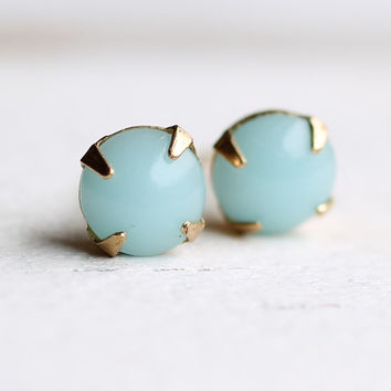 Seafoam Earrings ... vintage turquoise opal stud earrings in robin egg blue