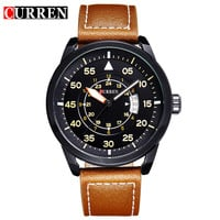 Quartz Watch Leather Strap Business Casual Round Dial Watches Waterproof Military Wristwatch