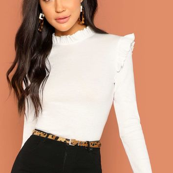 White Frill Trim Solid T-Shirt