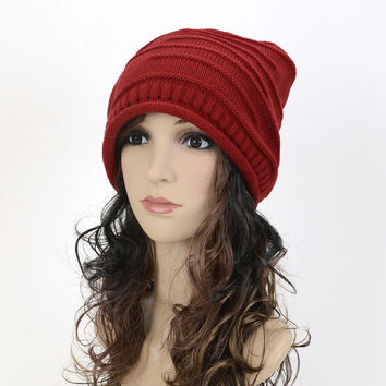 New Fashion Winter Casual Cotton Knit Hats Baggy Beanie Hat Crochet Slouchy Oversized Ski Cap Warm Soft Hat For Women WT204